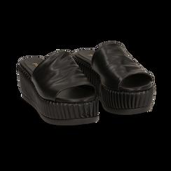 Zeppe platform nere in eco-pelle, zeppa 7 cm, Saldi, 132147652EPNERO038, 002 preview