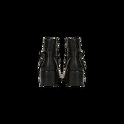 Biker neri con cinturino doppio e borchie, Scarpe, 122881794EPNERO, 003 preview