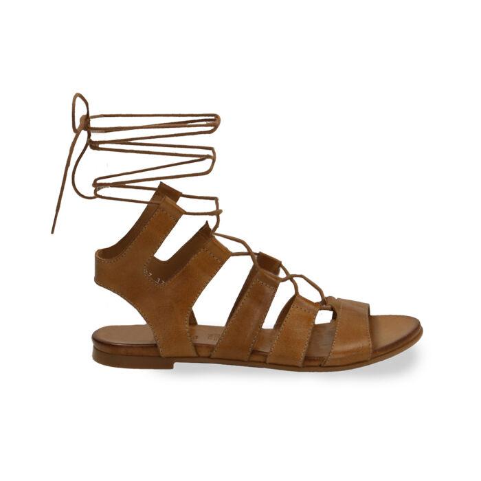 Sandales gladiateur en cuir cognac, Primadonna, 17B813337PECOGN035