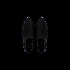 Chelsea Boots neri scamosciati, tacco basso scintillante, Scarpe, 124911285MFNERO036, 004 preview