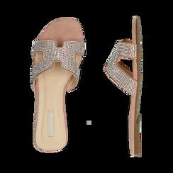 Ciabatte nude in microfibra con strass, Primadonna, 154983281MPNUDE036, 003 preview