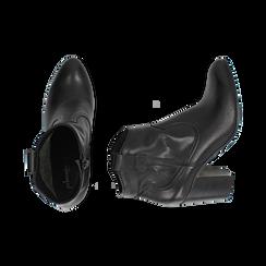 Botines en piel color negro, tacón 7,50 cm, Primadonna, 157725926PENERO035, 003 preview