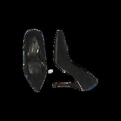 Décolleté nere con punta affusolata, tacco stiletto 11 cm, Scarpe, 122146861MFNERO, 005 preview