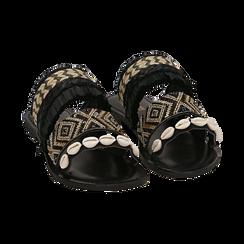 Ciabatte nere in rafia con conchiglie, Scarpe, 15K904448RFNERO, 002 preview