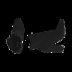 Ankle boots neri in microfibra, tacco 9,5 cm , Stivaletti, 142166061MFNERO035, 003 preview