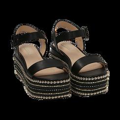 Sandali neri in eco-pelle, zeppa 7 cm , Primadonna, 154932211EPNERO035, 002 preview
