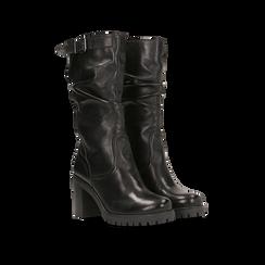 Stivali neri gambale drappegiato in vera pelle, tacco 5 cm, Primadonna, 127723814PENERO035, 002