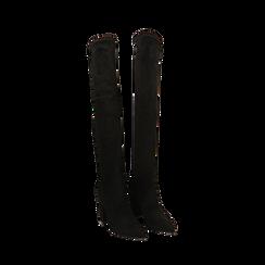 Stivali overknee neri in microfibra, tacco 9,50 cm , Primadonna, 163026515MFNERO035, 002 preview