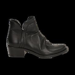 Camperos neri in vera pelle con elastici, tacco 4,5 cm, Scarpe, 131612461PENERO037, 001 preview