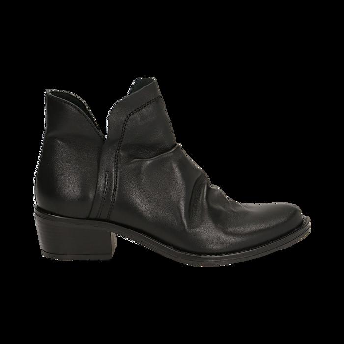 Camperos neri in vera pelle con elastici, tacco 4,5 cm, Scarpe, 131612461PENERO037