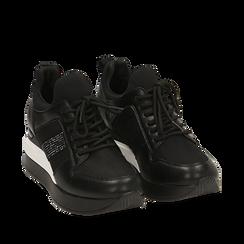 Zapatillas en tejido color negro, cuña 6 cm , Primadonna, 162801723TSNERO035, 002a