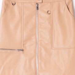 Minigonna nude in eco-pelle con zip, Saldi Estivi, 136501801EPNUDEL, 002 preview