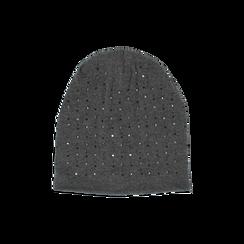 Cappello grigio in tessuto con cristalli, Abbigliamento, 14B406053TSGRIGUNI, 001 preview