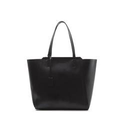 Maxi-bag nera in eco-pelle con design a trapezio, Borse, 133763772EPNEROUNI, 001a