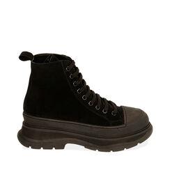 Sneakers nere in camoscio, platform 5,5 cm , Primadonna, 18A504001CMNERO035, 001a