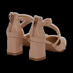Décolleté nude in vernice con cinturini incrociati, tacco a blocco 6,5 cm, Scarpe, 132182394VENUDE037, 004 preview