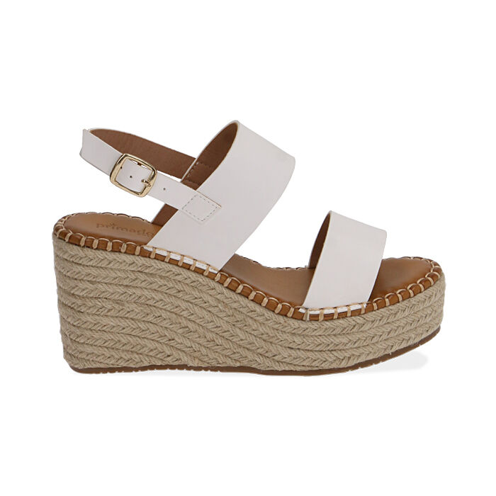 Sandali bianchi, zeppa 9 cm , Primadonna, 174906067EPBIAN035