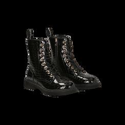 Anfibi neri vernice stampa coccodrillo, tacco basso, Scarpe, 129321851VENERO036, 002