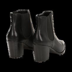Camperos a punta neri in eco-pelle, tacco 7 cm , Scarpe, 141785496EPNERO036, 004 preview