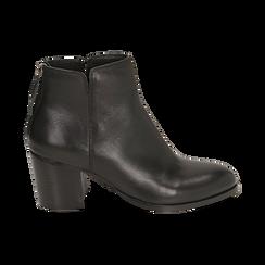 Ankle boots neri in pelle di vitello, tacco 6,50 cm, Primadonna, 15J492410VINERO035, 001 preview