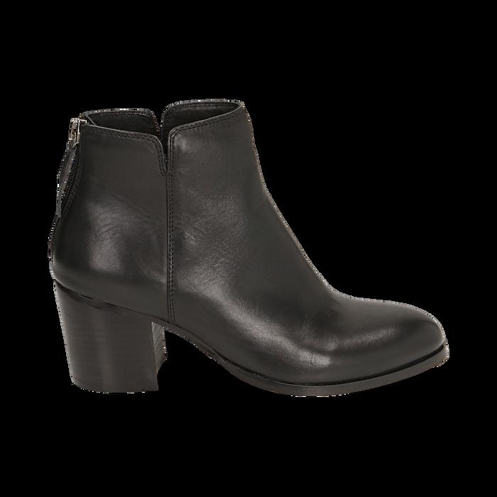 Ankle boots neri in pelle di vitello, tacco 6,50 cm, Primadonna, 15J492410VINERO035