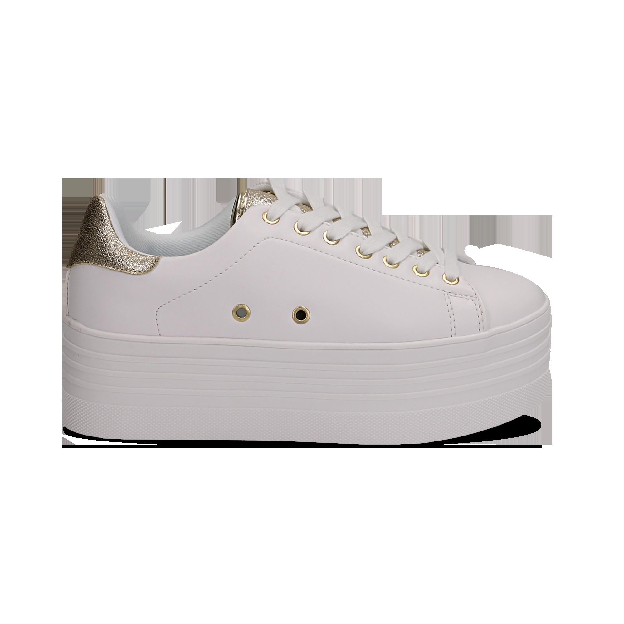 Sneakers bianche in eco,pelle dettaglio oro e suola platform, Scarpe,  132602020EPBIOR037,