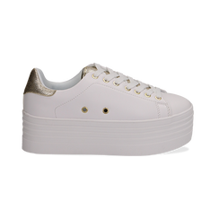 Sneakers bianche in eco-pelle dettaglio oro e suola platform, Scarpe, 132602020EPBIOR036, 001 preview