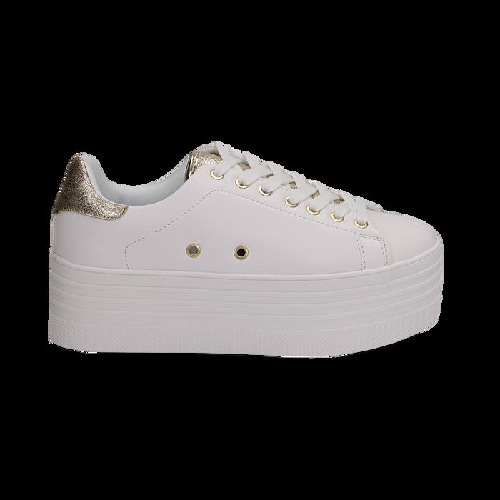 Sneakers bianche in eco-pelle dettaglio oro e suola platform, Scarpe, 132602020EPBIOR036