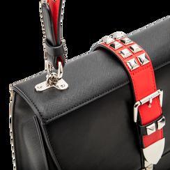 Mini bag nero-rossa in ecopelle con borchie, Saldi Borse, 121909421EPNERSUNI, 004 preview