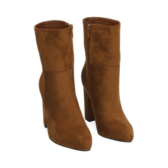 Ankle boots cuoio in microfibra, tacco 9,50 cm , Primadonna, 163026508MFCUOI037, 002 preview