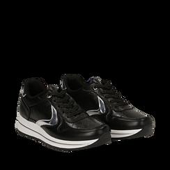 Sneakers nere in eco-pelle , 139300005EPNERO, 002a