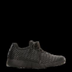 Sneakers nere con lavorazione a intreccio, 120117828EPNERO036, 001a