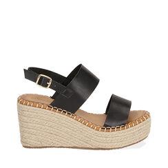 Sandalias negras, cuña 9 cm, 174906067EPNERO036, 001a