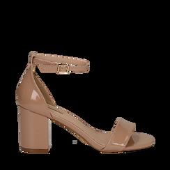 Sandali nude in vernice, tacco chunky 7,50 cm, Sandali con tacco, 133903111VENUDE035, 001a