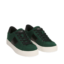 Sneakers verdi in microfibra, Scarpe, 142619071MFVERD035, 002a