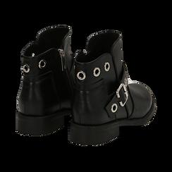 Biker boots neri in eco-pelle con oblò metallici, tacco 3 cm, Scarpe, 130619013EPNERO037, 004 preview