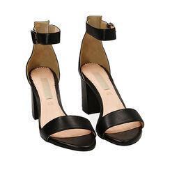 Sandali neri in pelle di vitello, tacco 8,5 cm, Primadonna, 15D600501VINERO037, 002a