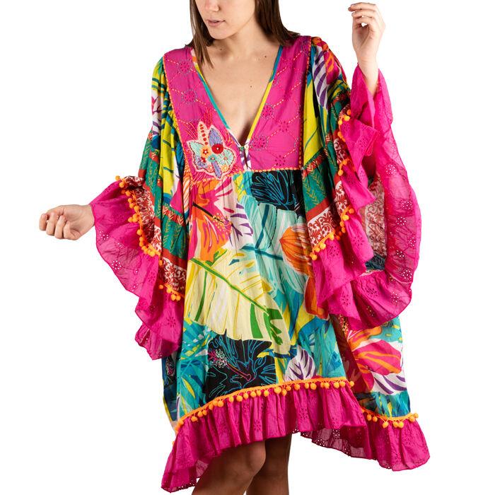 Caftán multicolor en tejido estampado de flores, Primadonna, 150500090TSMULTUNI