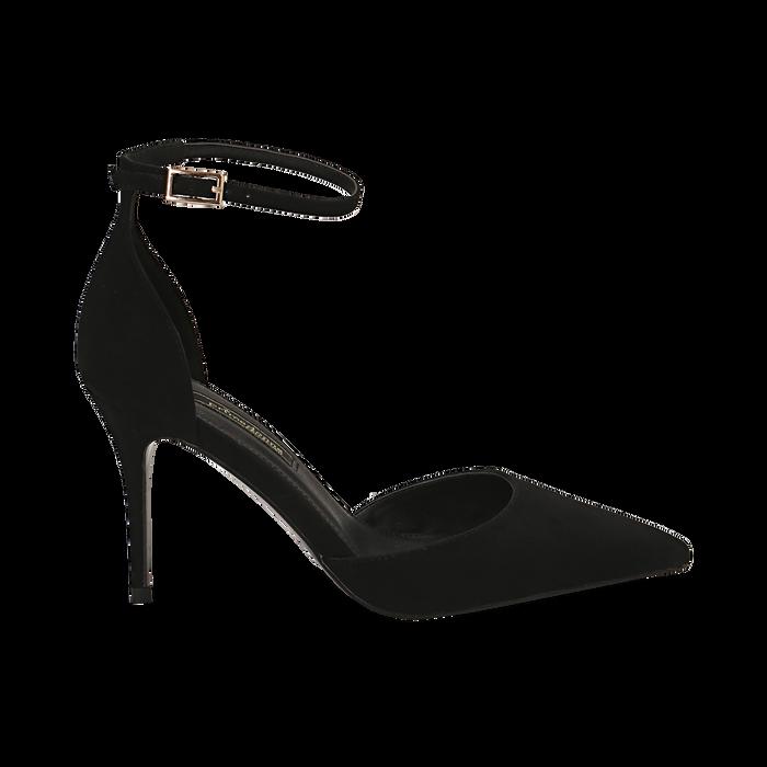 Décolleté nere in microfibra, tacco stiletto 9 cm , Scarpe, 142110617MFNERO035
