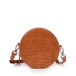 Bandolera redonda en eco-piel con estampado de cocodrilo color cuero, Bolsos, 155122784CCCUOIUNI, 001a