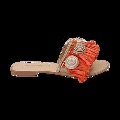 Ciabatte arancio in rafia con conchiglie, Chaussures, 15K904426RFARAN036, 001 preview