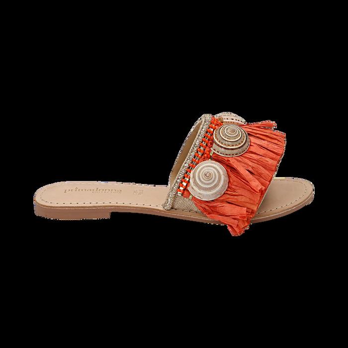 Ciabatte arancio in rafia con conchiglie, Chaussures, 15K904426RFARAN036