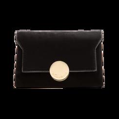 Pochette nera in microfibra scamosciata chiusura frontale gold, Saldi Borse, 123308437MFNEROUNI, 001 preview