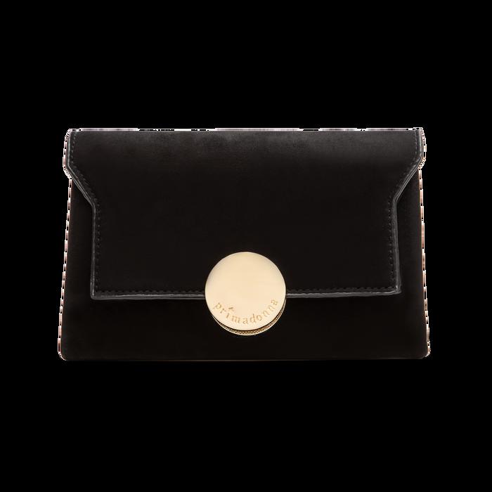 Pochette nera in microfibra scamosciata chiusura frontale gold, Saldi Borse, 123308437MFNEROUNI