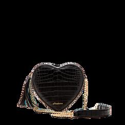 Borsa a tracolla nera forma a cuore, in ecopelle stampa coccodrillo, Saldi, 125921719CCNEROUNI, 001a