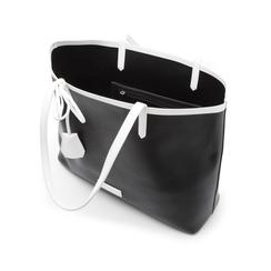 Maxi bag nero/bianca in eco-pelle, Primadonna, 133764106EPNEBIUNI, 004 preview