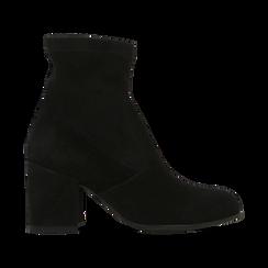 Tronchetti neri in vero camoscio, tacco quadrato 5 cm, Primadonna, 129809845CMNERO, 001 preview