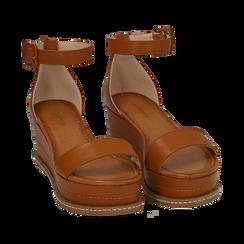Sandali cuoio in eco-pelle, zeppa 6,50 cm , Scarpe, 154926113EPCUOI035, 002a