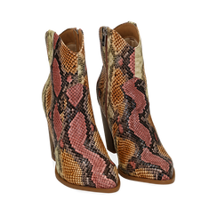 Santiags rose/beige en simili-cuir imprimé serpent, talon 9 cm, Chaussures, 154930037PTRSBE036, 002a