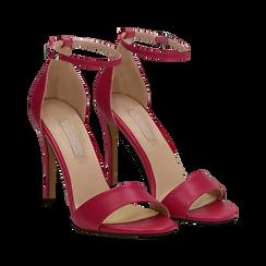 Sandali fuxia in eco-pelle con cinturino alla caviglia, tacco stiletto 10 cm, Scarpe, 134819211EPFUCS035, 002a